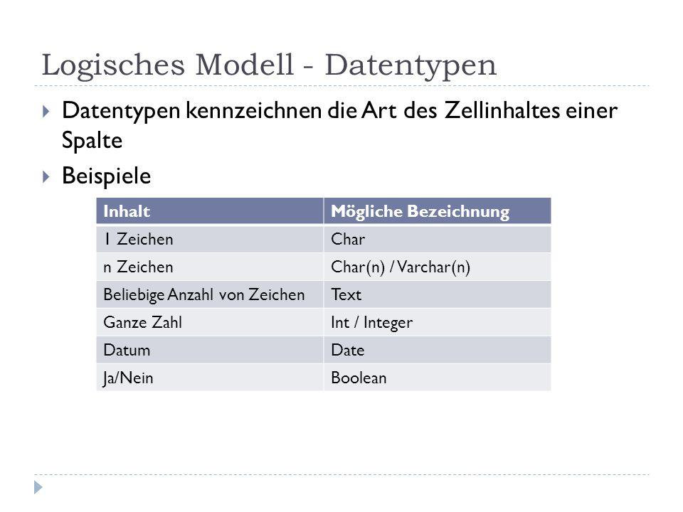 Logisches Modell - Datentypen