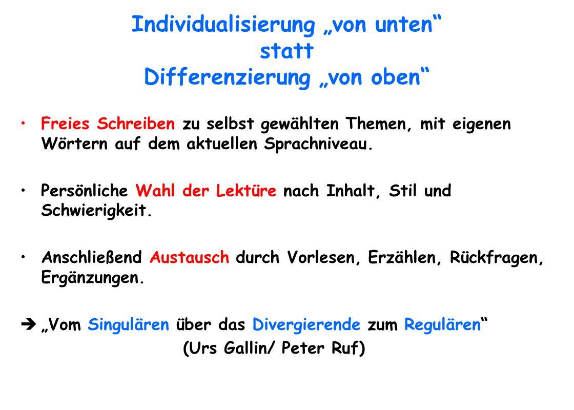 """Individualisierung """"von unten statt Differenzierung """"von oben"""