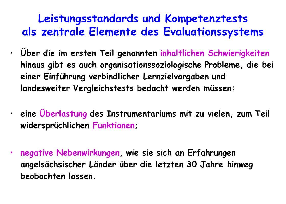 Leistungsstandards und Kompetenztests als zentrale Elemente des Evaluationssystems