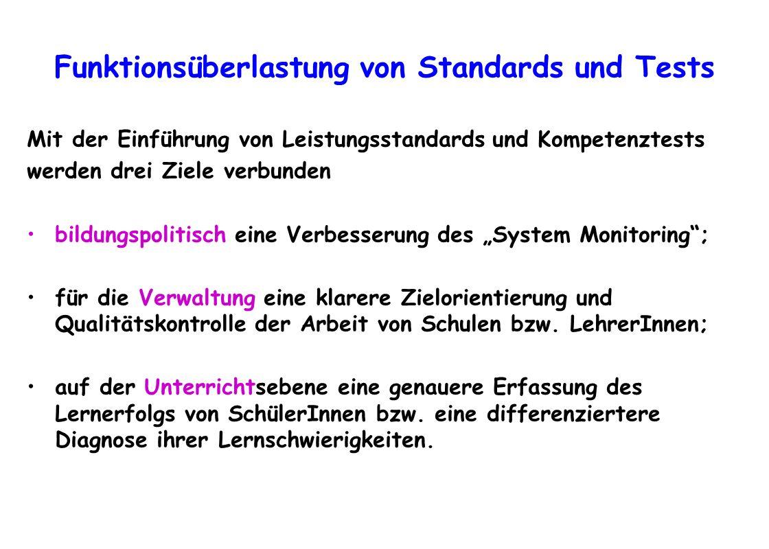 Funktionsüberlastung von Standards und Tests