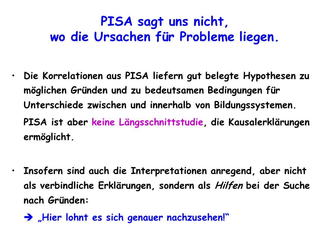 PISA sagt uns nicht, wo die Ursachen für Probleme liegen.