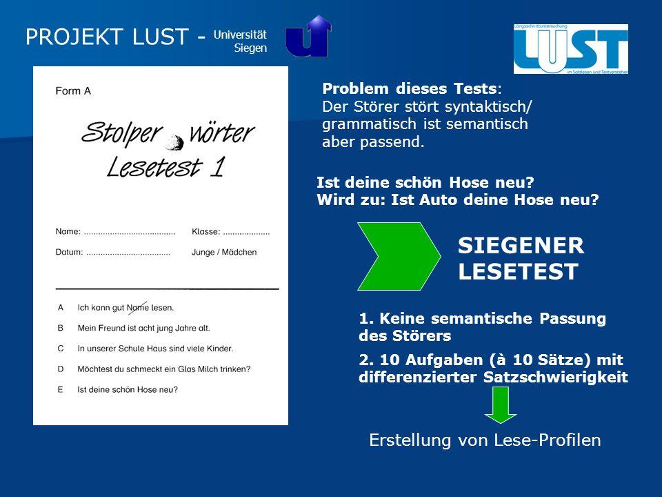 PROJEKT LUST - SIEGENER LESETEST Erstellung von Lese-Profilen