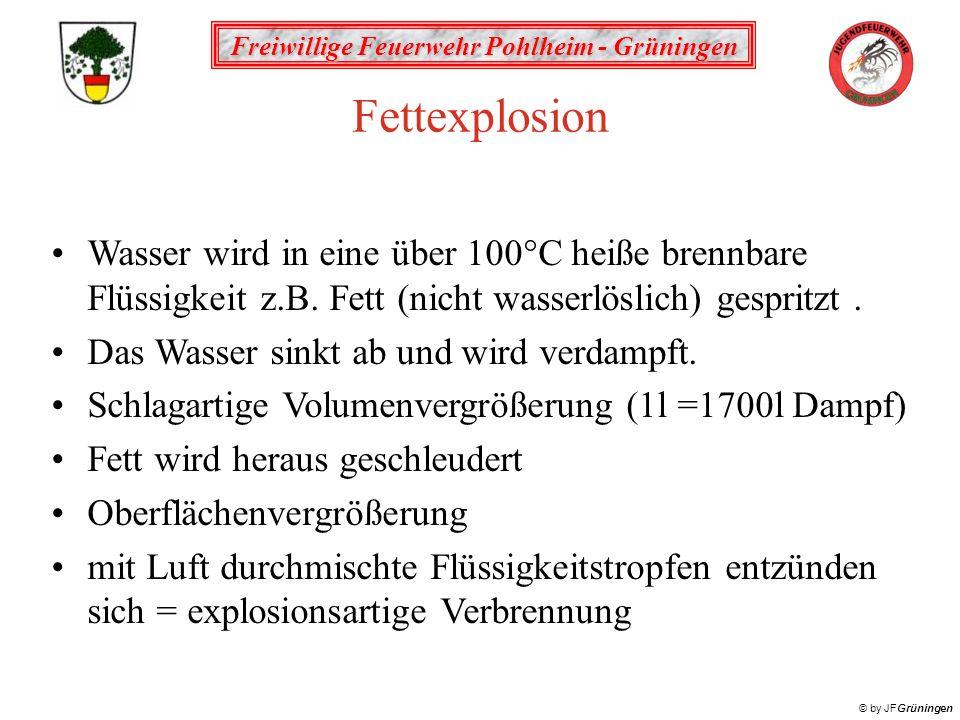 Fettexplosion Wasser wird in eine über 100°C heiße brennbare Flüssigkeit z.B. Fett (nicht wasserlöslich) gespritzt .