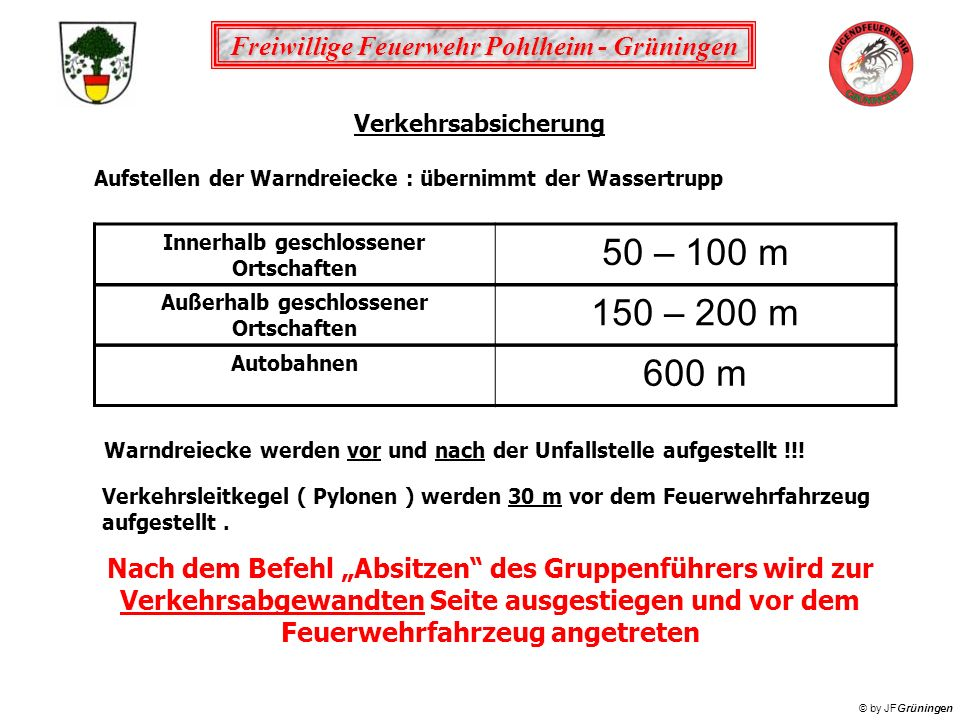 Verkehrsabsicherung Aufstellen der Warndreiecke : übernimmt der Wassertrupp. Innerhalb geschlossener Ortschaften.