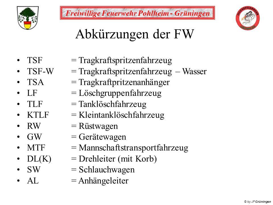 Abkürzungen der FW TSF = Tragkraftspritzenfahrzeug