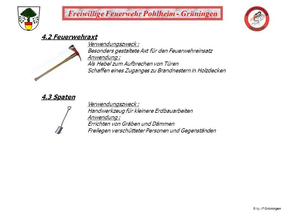 4.2 Feuerwehraxt 4.3 Spaten Verwendungszweck :
