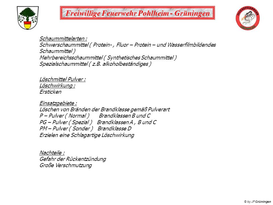Schaummittelarten : Schwerschaummittel ( Protein- , Fluor – Protein – und Wasserfilmbildendes Schaummittel )