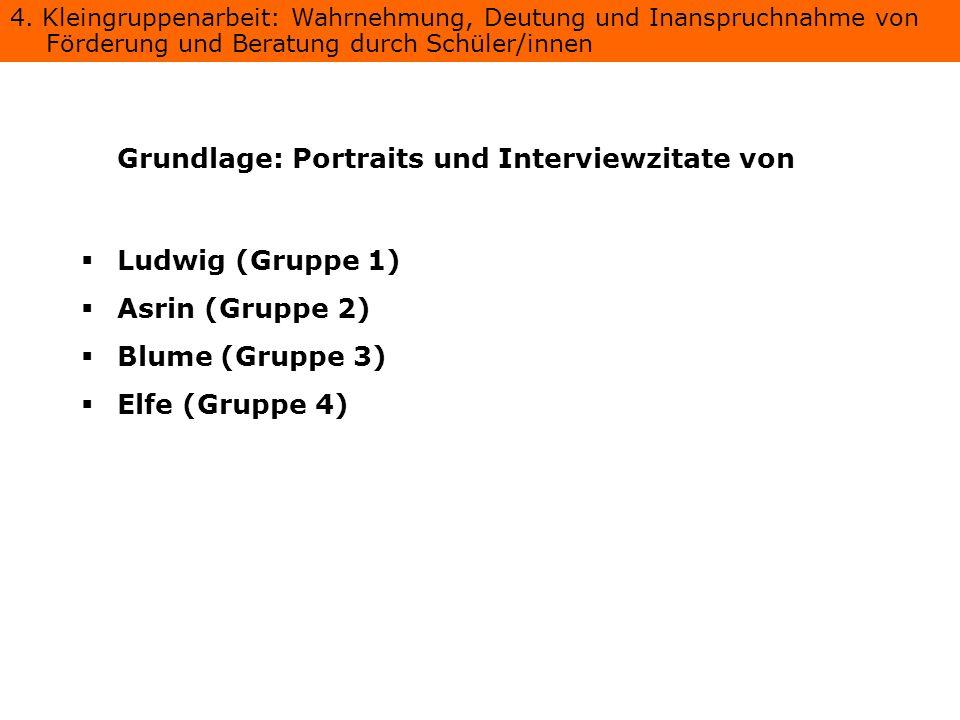 Grundlage: Portraits und Interviewzitate von
