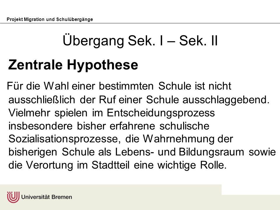 Übergang Sek. I – Sek. II Zentrale Hypothese.