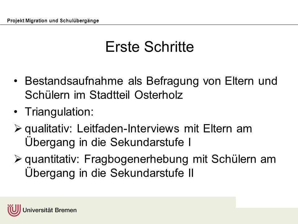 Erste Schritte Bestandsaufnahme als Befragung von Eltern und Schülern im Stadtteil Osterholz. Triangulation:
