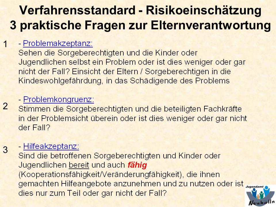Verfahrensstandard - Risikoeinschätzung 3 praktische Fragen zur Elternverantwortung