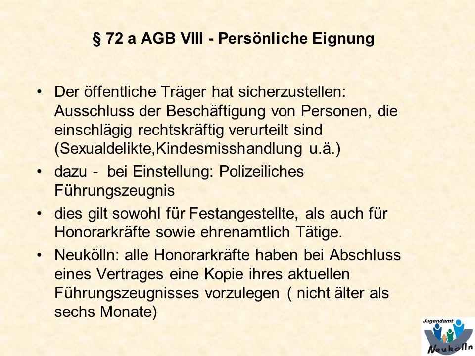 § 72 a AGB VIII - Persönliche Eignung