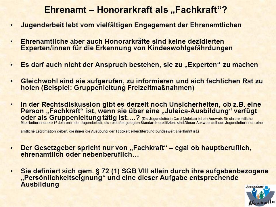 """Ehrenamt – Honorarkraft als """"Fachkraft"""
