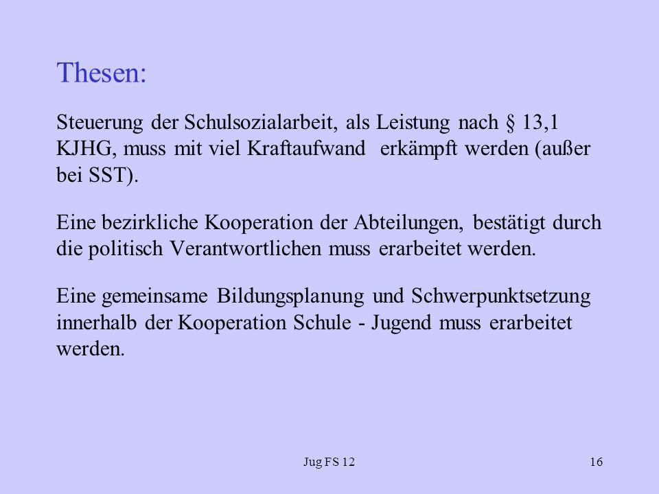 Thesen: Steuerung der Schulsozialarbeit, als Leistung nach § 13,1 KJHG, muss mit viel Kraftaufwand erkämpft werden (außer bei SST).