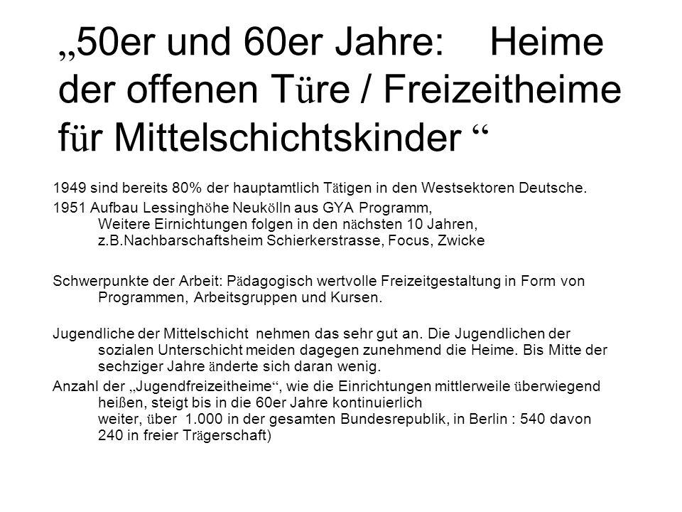 """""""50er und 60er Jahre: Heime der offenen Türe / Freizeitheime für Mittelschichtskinder"""