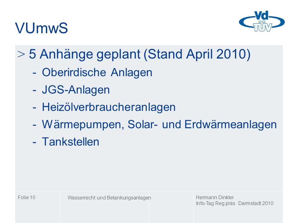 VUmwS 5 Anhänge geplant (Stand April 2010) Oberirdische Anlagen