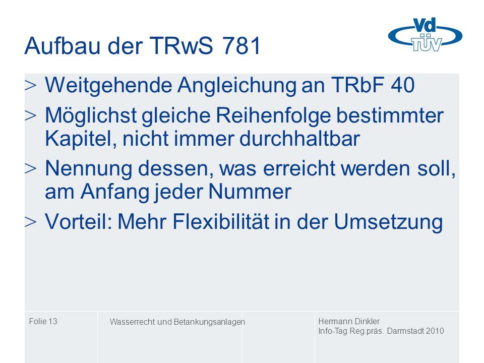 Aufbau der TRwS 781 Weitgehende Angleichung an TRbF 40