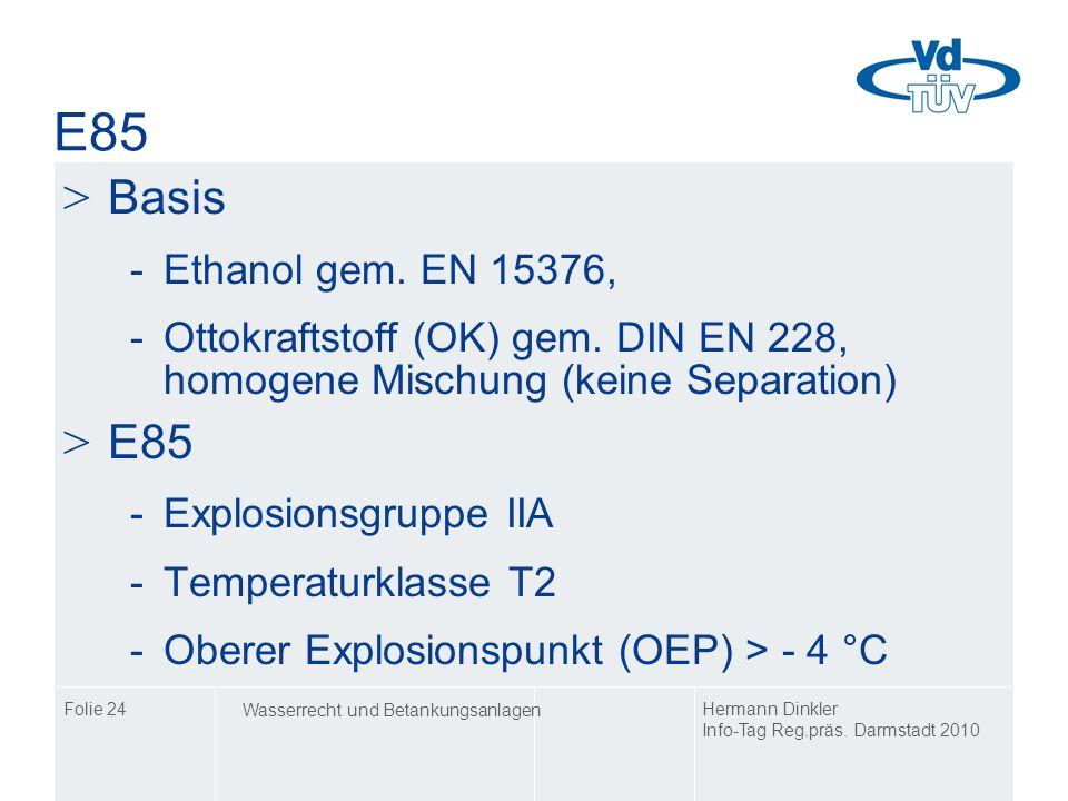 E85Basis. Ethanol gem. EN 15376, Ottokraftstoff (OK) gem. DIN EN 228, homogene Mischung (keine Separation)