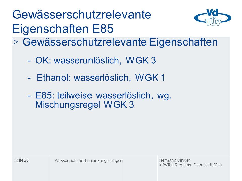 Gewässerschutzrelevante Eigenschaften E85