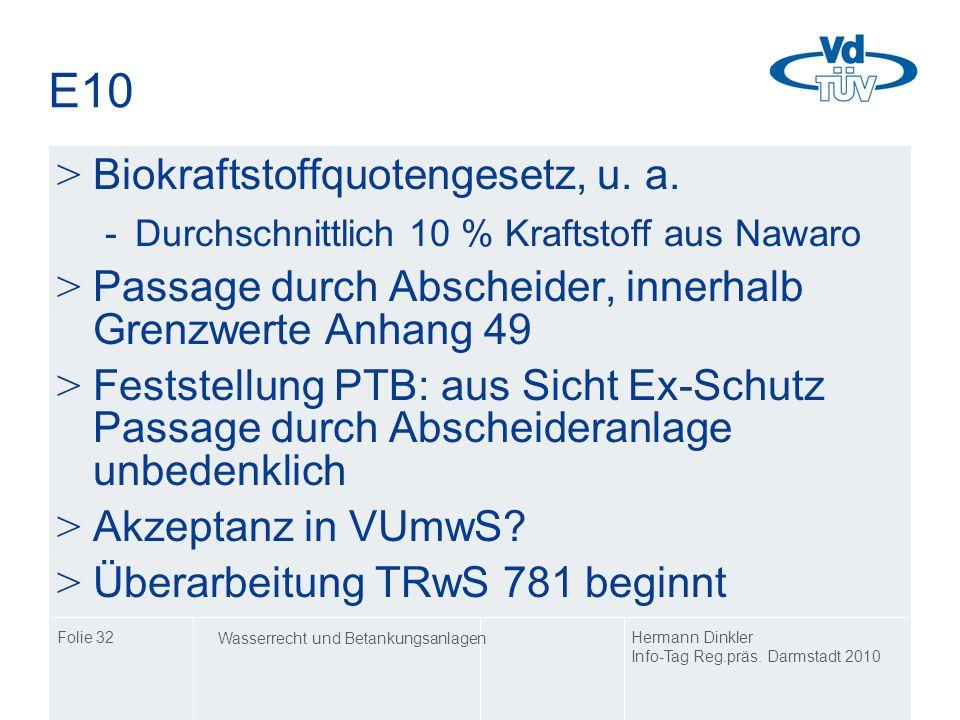 E10 Biokraftstoffquotengesetz, u. a.