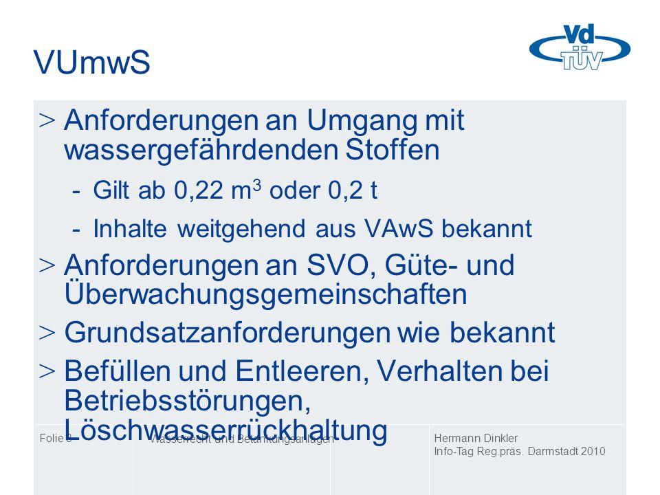 VUmwS Anforderungen an Umgang mit wassergefährdenden Stoffen