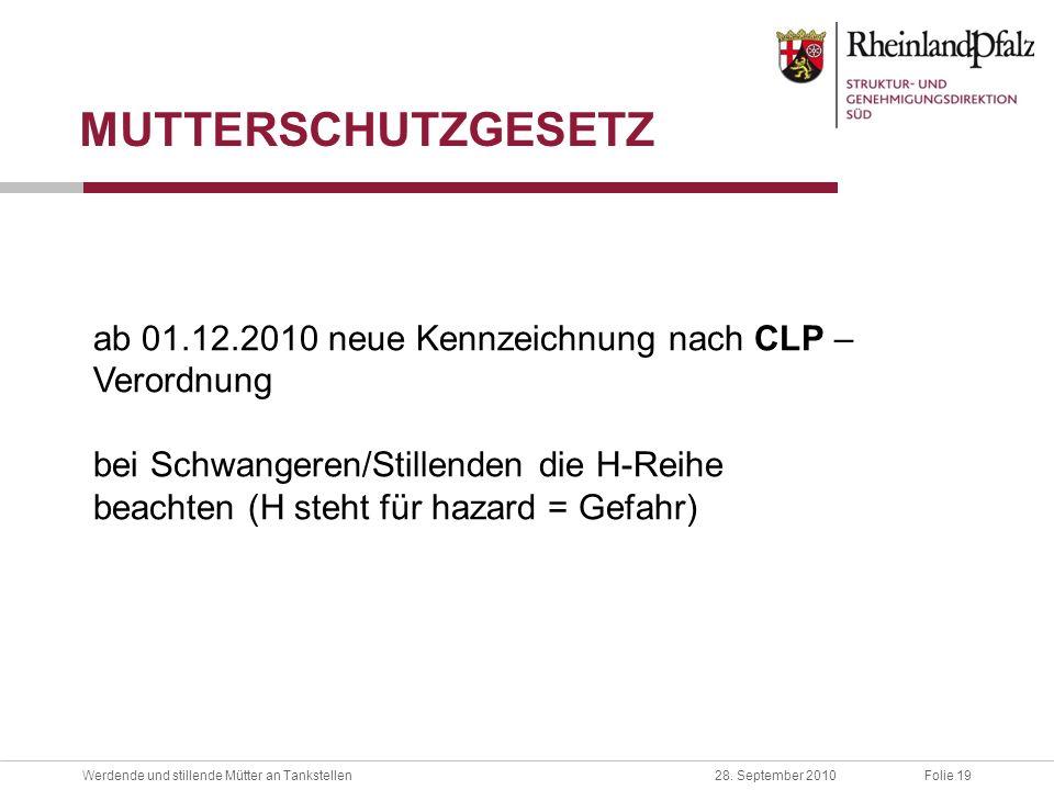 MUTTERSCHUTZGESETZ ab 01.12.2010 neue Kennzeichnung nach CLP – Verordnung. bei Schwangeren/Stillenden die H-Reihe.