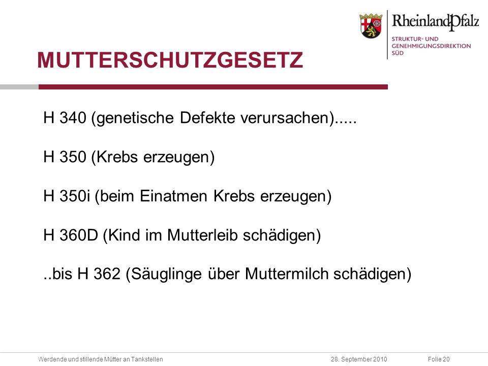 MUTTERSCHUTZGESETZ H 340 (genetische Defekte verursachen).....