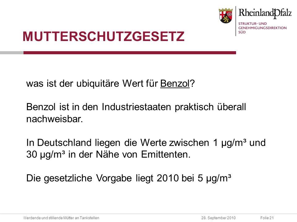 MUTTERSCHUTZGESETZ was ist der ubiquitäre Wert für Benzol