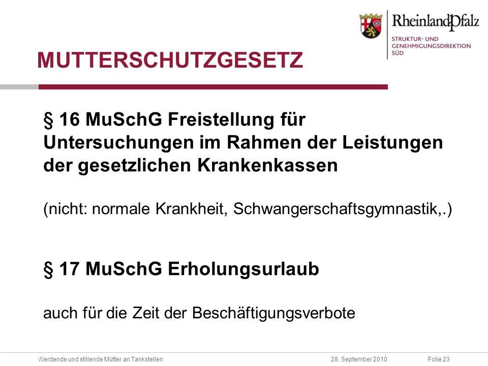MUTTERSCHUTZGESETZ § 16 MuSchG Freistellung für Untersuchungen im Rahmen der Leistungen der gesetzlichen Krankenkassen.
