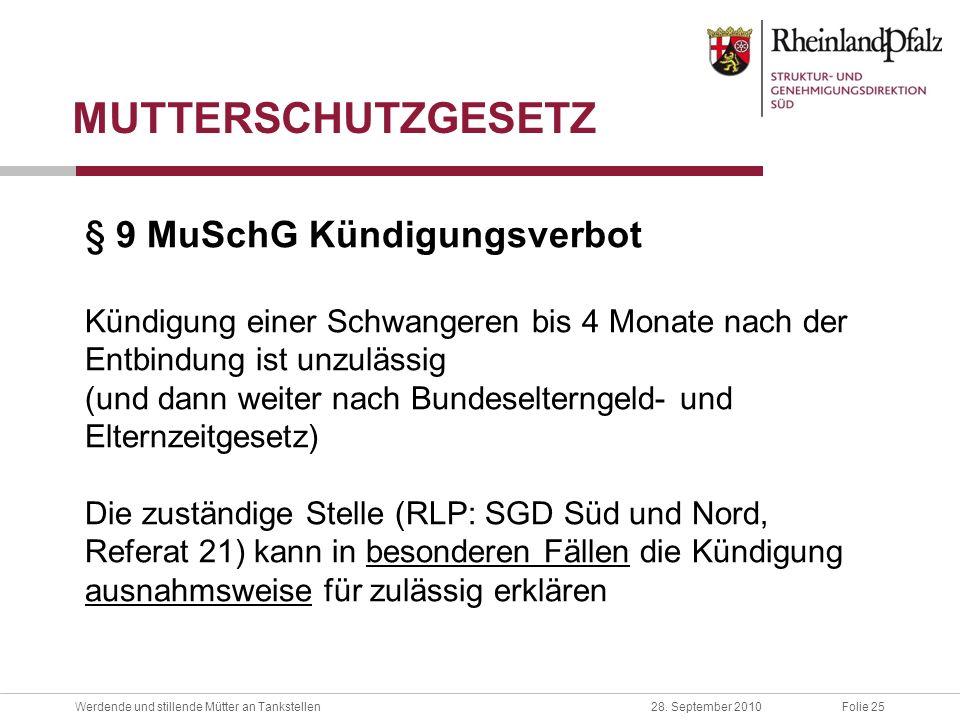 MUTTERSCHUTZGESETZ § 9 MuSchG Kündigungsverbot