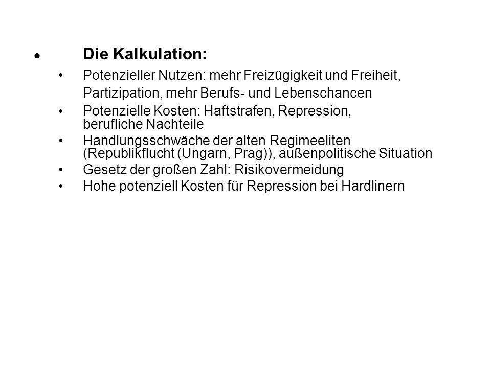  Die Kalkulation:Potenzieller Nutzen: mehr Freizügigkeit und Freiheit, Partizipation, mehr Berufs- und Lebenschancen.