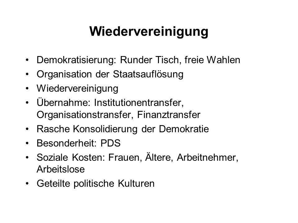 Wiedervereinigung Demokratisierung: Runder Tisch, freie Wahlen