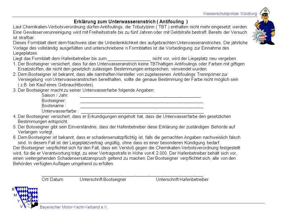 Erklärung zum Unterwasseranstrich ( Antifouling )