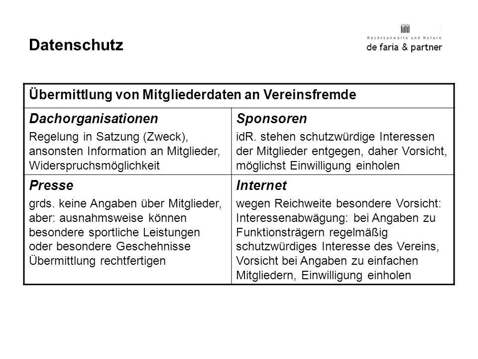 Datenschutz Übermittlung von Mitgliederdaten an Vereinsfremde