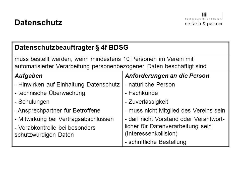 Datenschutz Datenschutzbeauftragter § 4f BDSG