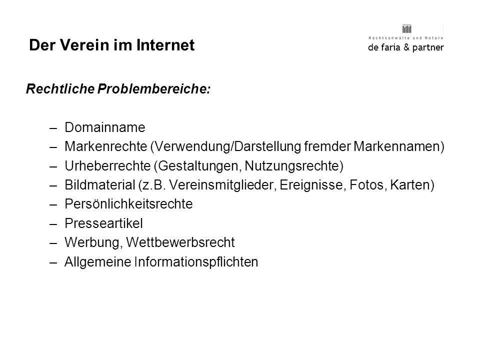 Der Verein im Internet Rechtliche Problembereiche: Domainname