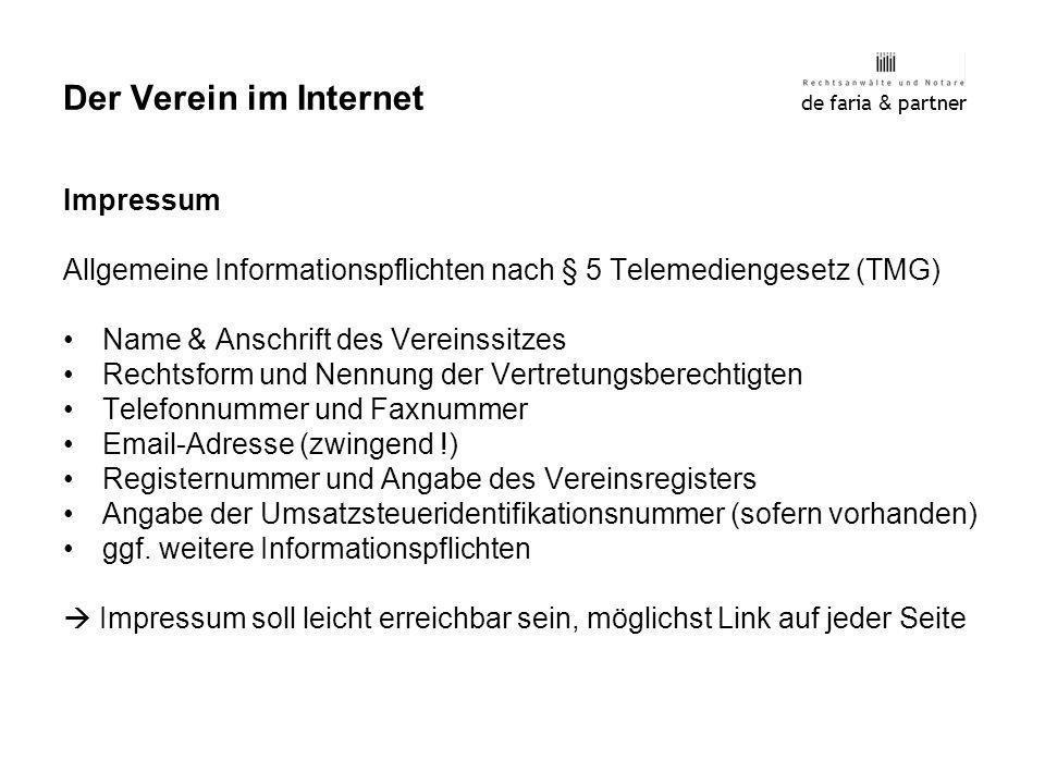 Der Verein im Internet Impressum