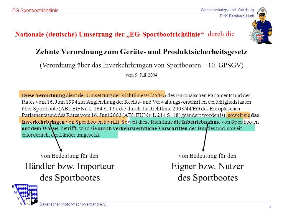 Händler bzw. Importeur des Sportbootes Eigner bzw. Nutzer