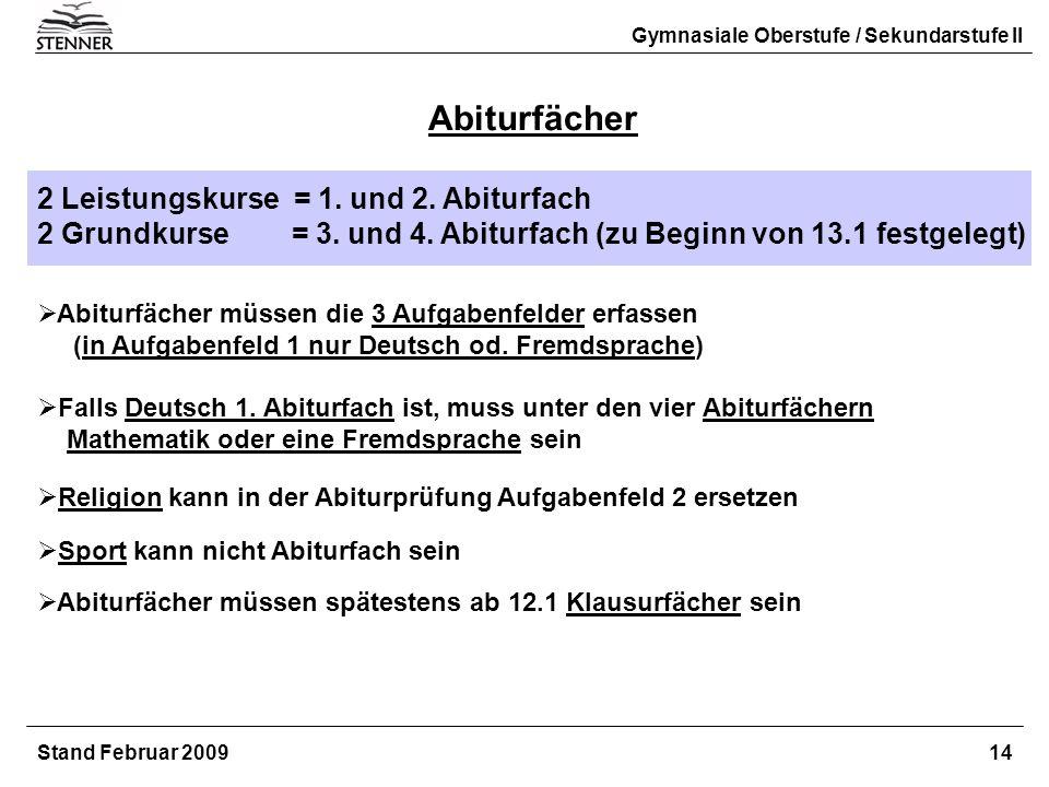 Abiturfächer 2 Leistungskurse = 1. und 2. Abiturfach