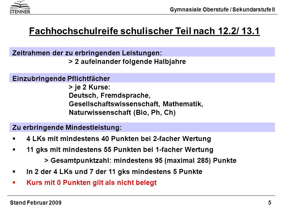 Fachhochschulreife schulischer Teil nach 12.2/ 13.1