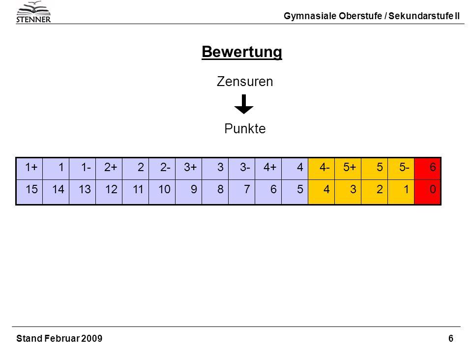 Bewertung Zensuren Punkte 1+ 1 1- 2+ 2 2- 3+ 3 3- 4+ 4 4- 5+ 5 5- 6 15