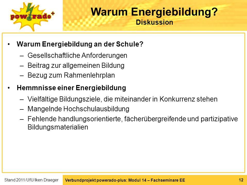Warum Energiebildung Diskussion