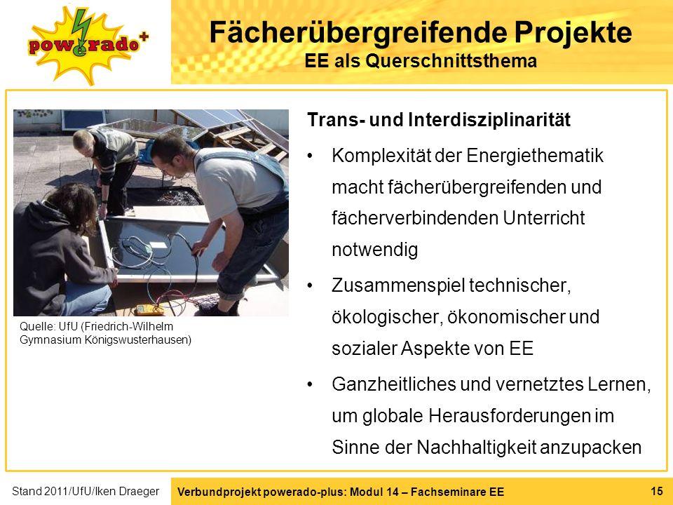 Fächerübergreifende Projekte EE als Querschnittsthema