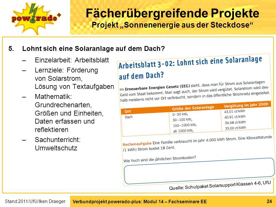 """Fächerübergreifende Projekte Projekt """"Sonnenenergie aus der Steckdose"""