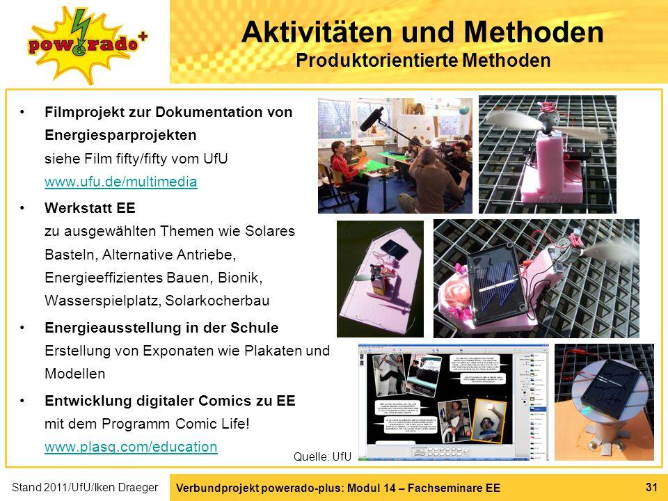 Aktivitäten und Methoden Produktorientierte Methoden