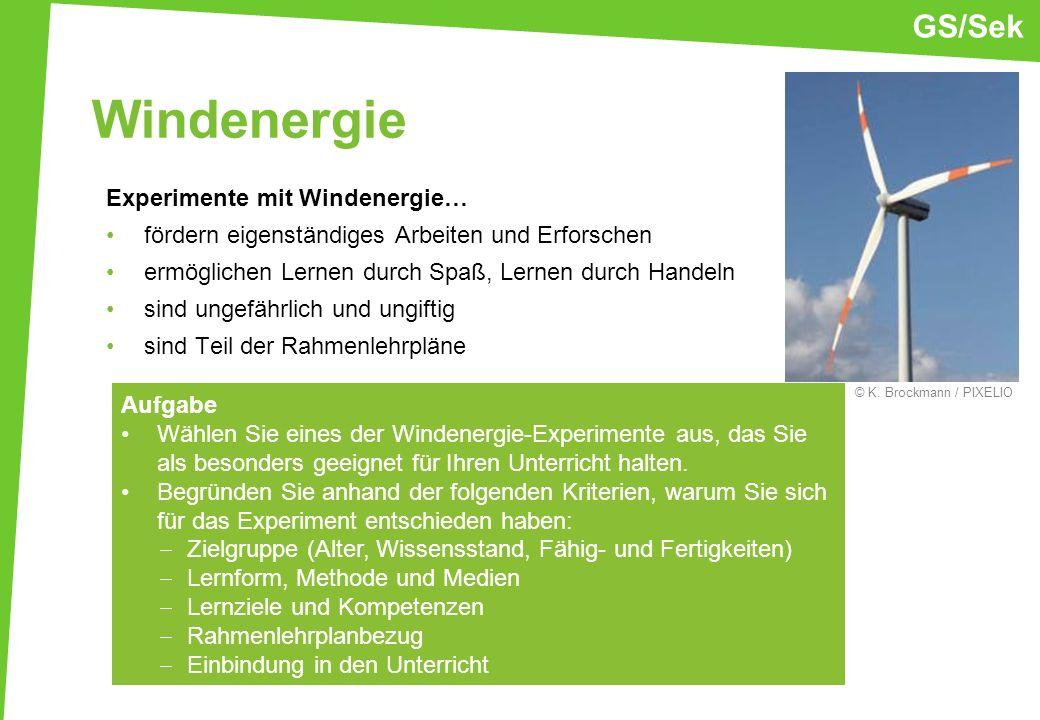 Windenergie GS/Sek Experimente mit Windenergie…