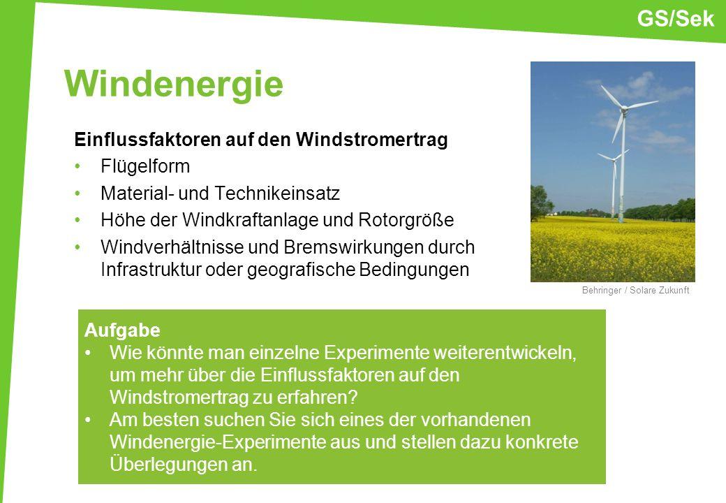 Windenergie GS/Sek Einflussfaktoren auf den Windstromertrag Flügelform