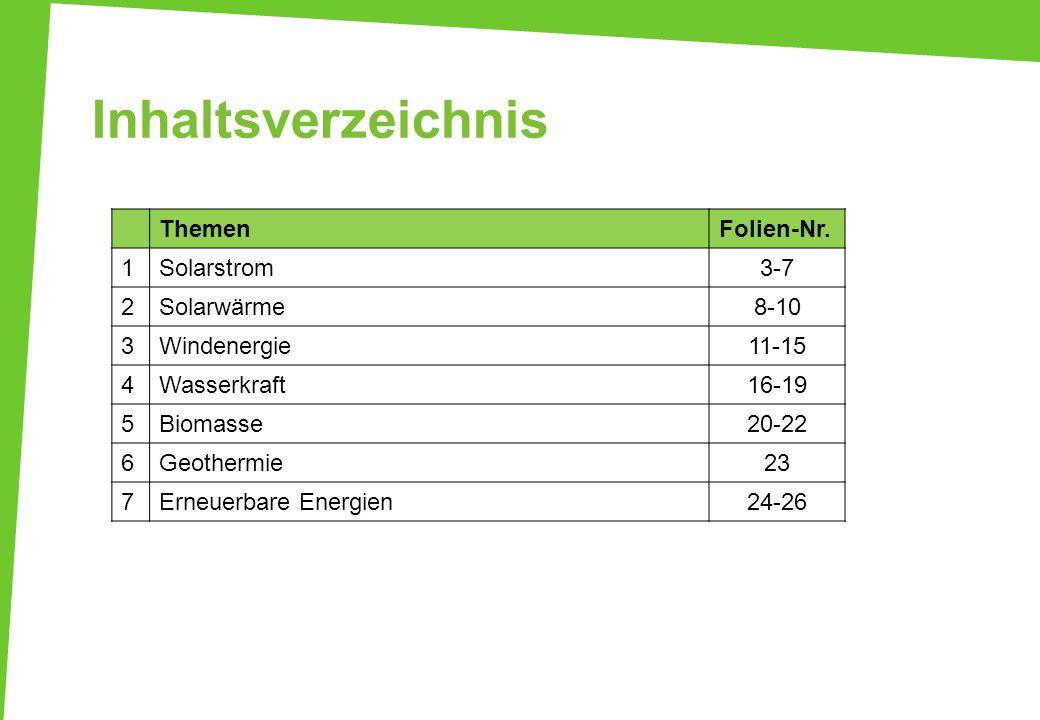 Inhaltsverzeichnis Themen Folien-Nr. 1 Solarstrom 3-7 2 Solarwärme