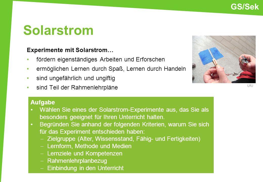Solarstrom GS/Sek Experimente mit Solarstrom…