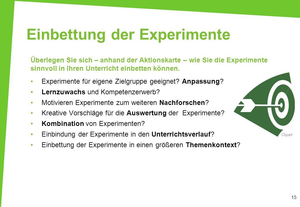 Einbettung der Experimente